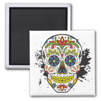 Aimant Crâne de sucre, crâne de tatouage, crâne mexicain