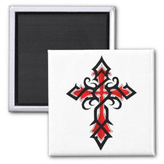 Aimant Croix décorative rouge et noire de Jésus-Christ