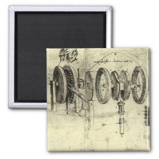 Aimant Croquis d'ingénierie d'une roue par Leonardo da