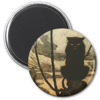 Aimant Cru effrayant Rackham de chat noir de Halloween