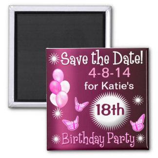 Aimant d invitation d anniversaire de dames