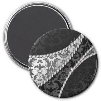 Aimant Damassé vénitienne, motif de damassé - blanc noir