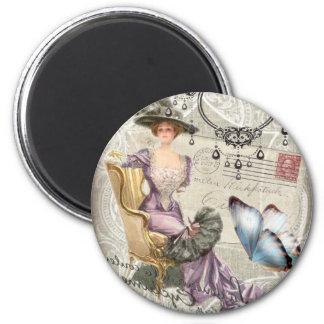 Aimant dame vintage de victorian de lustre chic minable