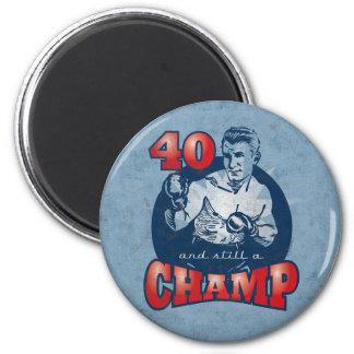 Aimant d'anniversaire de champion de boxe quaranti