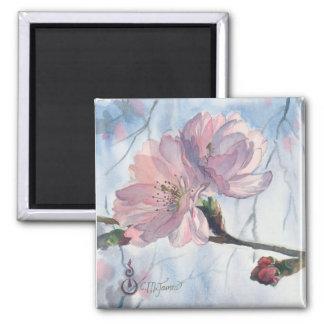 """Aimant d'art """"de duo de fleurs de cerisier"""""""