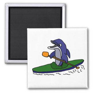 Aimant Dauphin drôle Kayaking