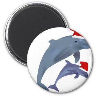 Aimant dauphins de père Noël
