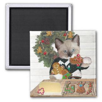 Aimant de chaton de biscuit de Noël