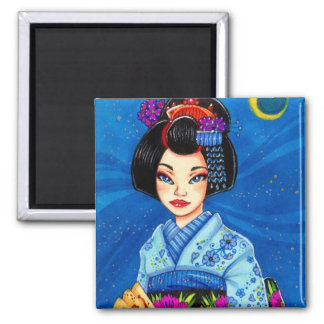 Aimant de Maiko de lune, art de Japonais de geisha