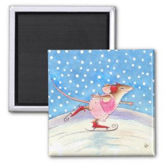 Aimant de patineur artistique de souris