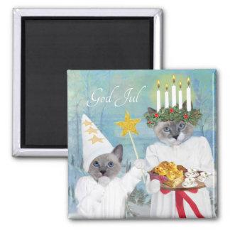 Aimant de Père Noël Lucia des chatons