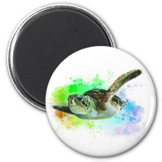 Aimant de tortue de mer de natation d'aquarelle