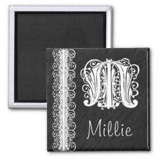 Aimant Dentelle blanche de monogramme de Millie M sur