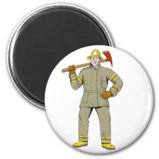 Aimant Dessin américain de hache du feu de sapeur-pompier