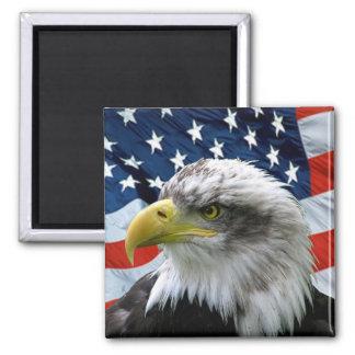 Aimant Drapeau américain chauve patriotique d'Eagle