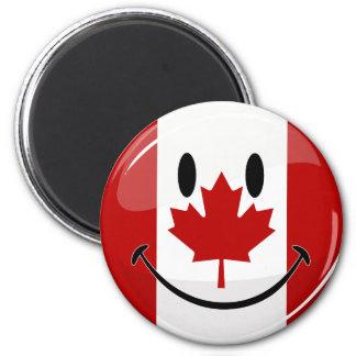 Aimant Drapeau canadien de sourire de rond brillant