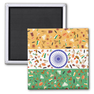 Aimant Drapeau de l'Inde avec les articles culturels