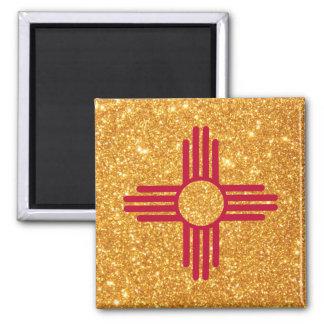 Aimant Drapeau du Nouveau Mexique de scintillement d'or