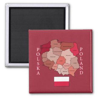 Aimant Drapeau et carte de la Pologne