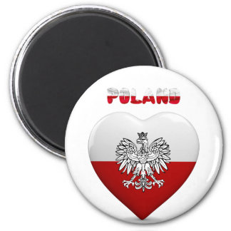 Aimant Drapeau polonais de coeur