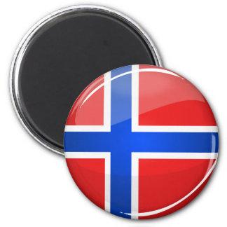 Aimant Drapeau rond brillant de la Norvège