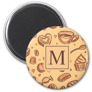 Aimant du monogramme | de desserts de chocolat
