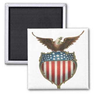 Aimant Eagle patriotique et chauve vintage avec le