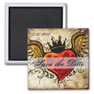 Aimant Économies de coeur à ailes par tatouage vintage