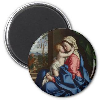Aimant Enfant du Christ embrassant sa mère