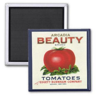 Aimant Étiquette vintage de caisse de fruit, tomates de