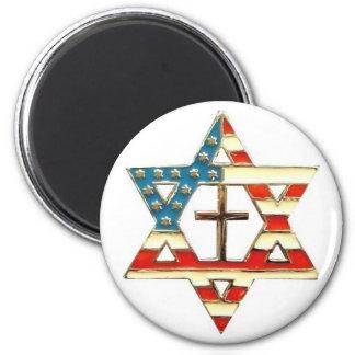 Aimant Étoile de David américaine avec la croix