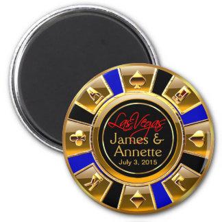 Aimant Faveur bleue de puce de casino de noir d'or de Las