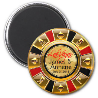 Aimant Faveur rouge de puce de casino de noir d'or de Las