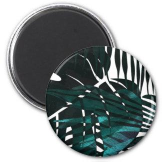 Aimant Feuille tropical vert-foncé métallique
