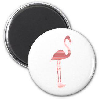 Aimant Flamant - bandes - rose et blanc