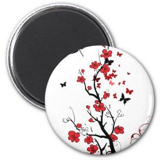 Aimant Fleurs noires et rouges