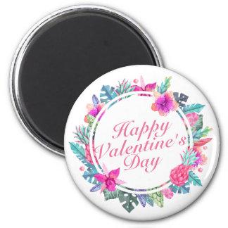 Aimant floral de cadre de Saint-Valentin tropicale