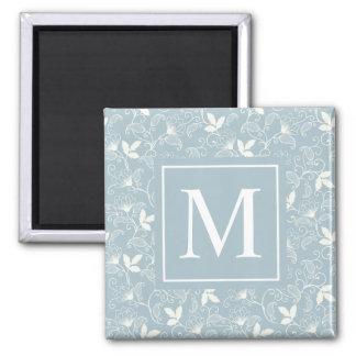 Aimant floral élégant du monogramme | de motif