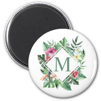 Aimant floral tropical du monogramme | de cadre