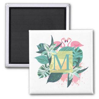 Aimant floral tropical du monogramme | de mariage