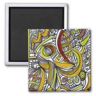 Aimant Fossiles - dessin coloré d'encre d'art abstrait