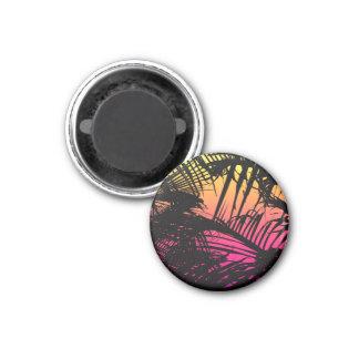 Aimant Frondes noires tropicales de paume sur rose,