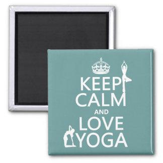 Aimant Gardez le calme et aimez le yoga (les couleurs