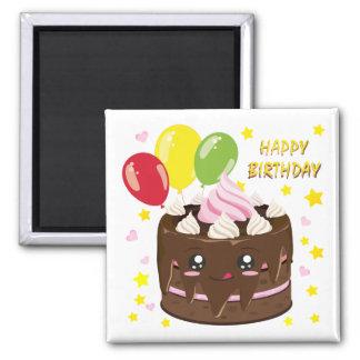 Aimant Gâteau de chocolat de joyeux anniversaire, kawaii