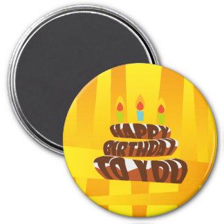 Aimant Gâteau de joyeux anniversaire d'illustration avec