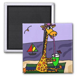 Aimant Girafe drôle à l'art de plage