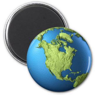 Aimant Globe 3d d'isolement sur le blanc. L'Amérique du