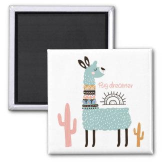 Aimant Grand lama de rêveur avec le cactus