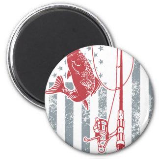Aimant Grandes chemises de pêche de drapeau américain