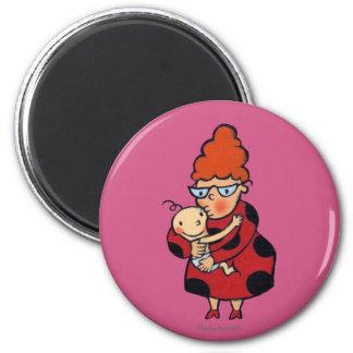 Aimant Grandes étreintes de bonjour de tante en rouge